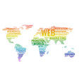 word cloud business concept world map from text vector image vector image