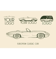 European classic sports car silhouettes vector image