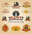 Set of Thanksgiving Day Labels Happy Thanksgiving vector image