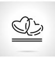 Two hearts black line icon vector image