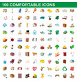 100 comfortable icons set cartoon style vector image vector image
