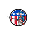 American Revolutionary Soldier USA Flag Circle vector image vector image