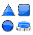 blue 3d buttons and icons with metal frame vector image vector image