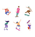 boy and girl skateboarder making stunt and trick vector image