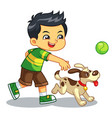 boy playing with his pet dog vector image vector image