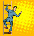 businessman climbs stairs man points to copy vector image vector image
