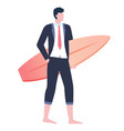 businessman wearing formal suit holding board vector image vector image