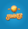 cartoon summer label paper art syle on blue vector image