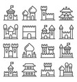 castle icon set on white background line style vector image vector image