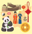 china icons east ancient famous oriental culture vector image vector image