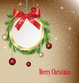 Christmas greeting round banner vector image