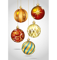 Christmas ornaments hanging on gold thread vector image vector image