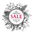 Christmas sale banner wreath hand drawn vector image vector image
