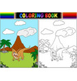 coloring book with parasaurolophus cartoon vector image vector image