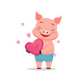 cute happy pig holding pink heart funny cartoon vector image vector image