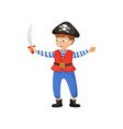 cute smiling boy in pirate costume with black hat vector image vector image