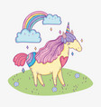 cute unicorn animal with rainbow and clouds vector image vector image