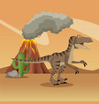 dinosaur in the forest vector image vector image