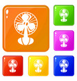 fan icons set color vector image vector image