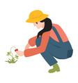 flat farmer woman in professional uniform vector image vector image