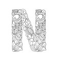 floral n letter contour vector image vector image
