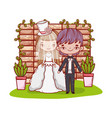 girl and boy couple with brick wall vector image vector image