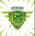 gmo free certificate badge vector image vector image