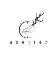 grunge deer skull with target design template vector image vector image