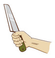 hand holding a knife vector image vector image