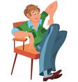 Happy cartoon man sitting in armchair in green vector image