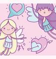 happy valentines day cute cupids hearts love vector image vector image
