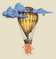 hot air balloon up in sky with lots hearts vector image vector image