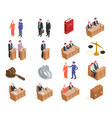 law isometric icon set vector image