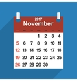 Leaf calendar 2017 with the month of November days vector image vector image