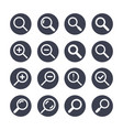magnifying glass flat glyph icons search zoom in vector image vector image