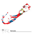 Map of Bermuda with flag vector image vector image