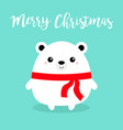 merry christmas bear face head body round icon vector image vector image