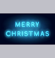 merry christmas neon lettering realistic vector image