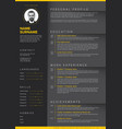 minimalist dark resume cv template vector image vector image