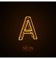 Neon 3D letter A vector image vector image