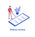 online review - person giving feedback on business vector image