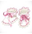 Pink booties for newborn vector image vector image