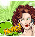 redhead girl says hello on smartphone in comic vector image