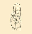 scout symbol hand gesture scouting sketch vector image vector image