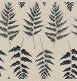 seamless pattern of fern leaves hand drawn vector image