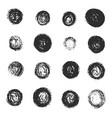 set of black grunge scratched round textures vector image