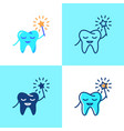smiling tooth icon set in flat and line style vector image
