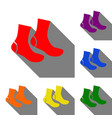 socks sign set of red orange yellow green vector image vector image