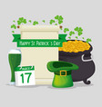 st patrick card with cauldron and gold coins with vector image