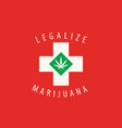 swiss flag with a leaf legalized marijuana vector image vector image